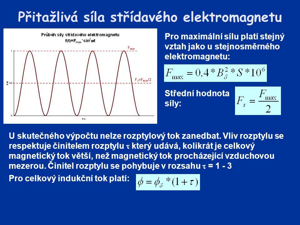 Přitažlivá síla střídavého elektromagnetu Pro maximální sílu platí stejný vztah jako u stejnosměrného elektromagnetu: Střední hodnota síly: U skutečné