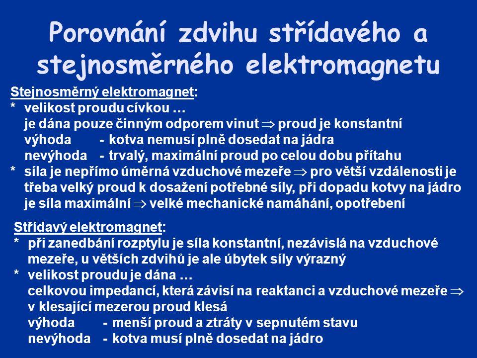 Porovnání zdvihu střídavého a stejnosměrného elektromagnetu Stejnosměrný elektromagnet: *velikost proudu cívkou … je dána pouze činným odporem vinut 