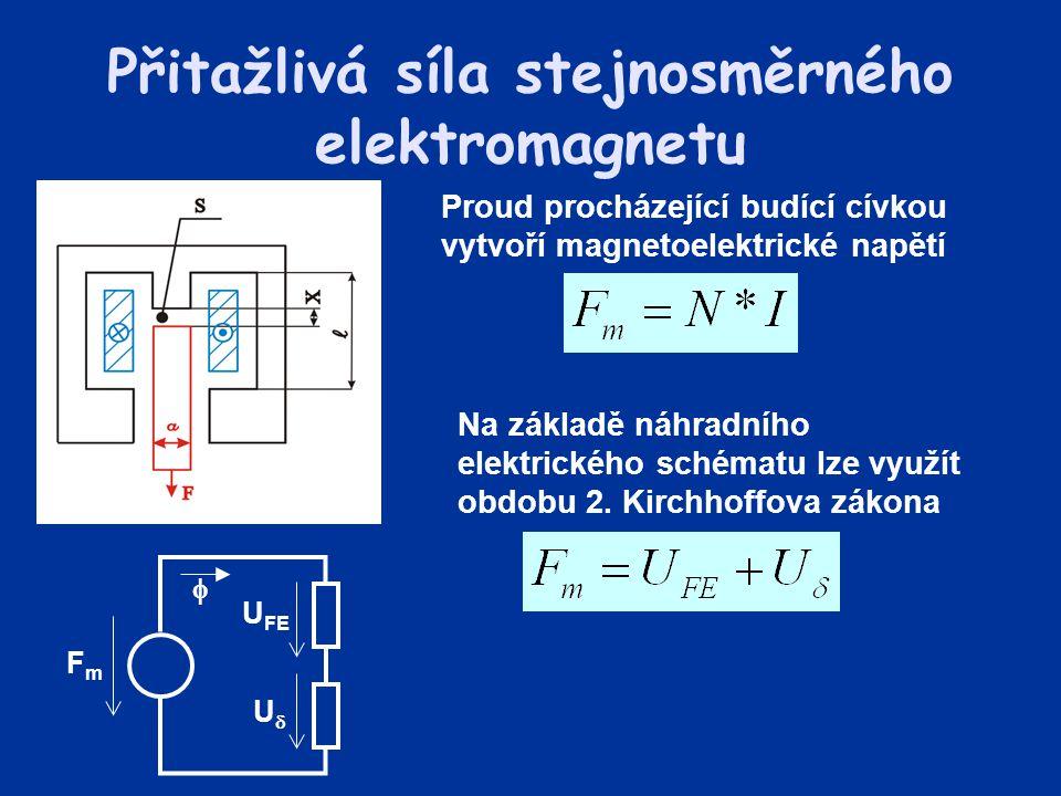 Na základě náhradního elektrického schématu lze využít obdobu 2. Kirchhoffova zákona Přitažlivá síla stejnosměrného elektromagnetu Proud procházející