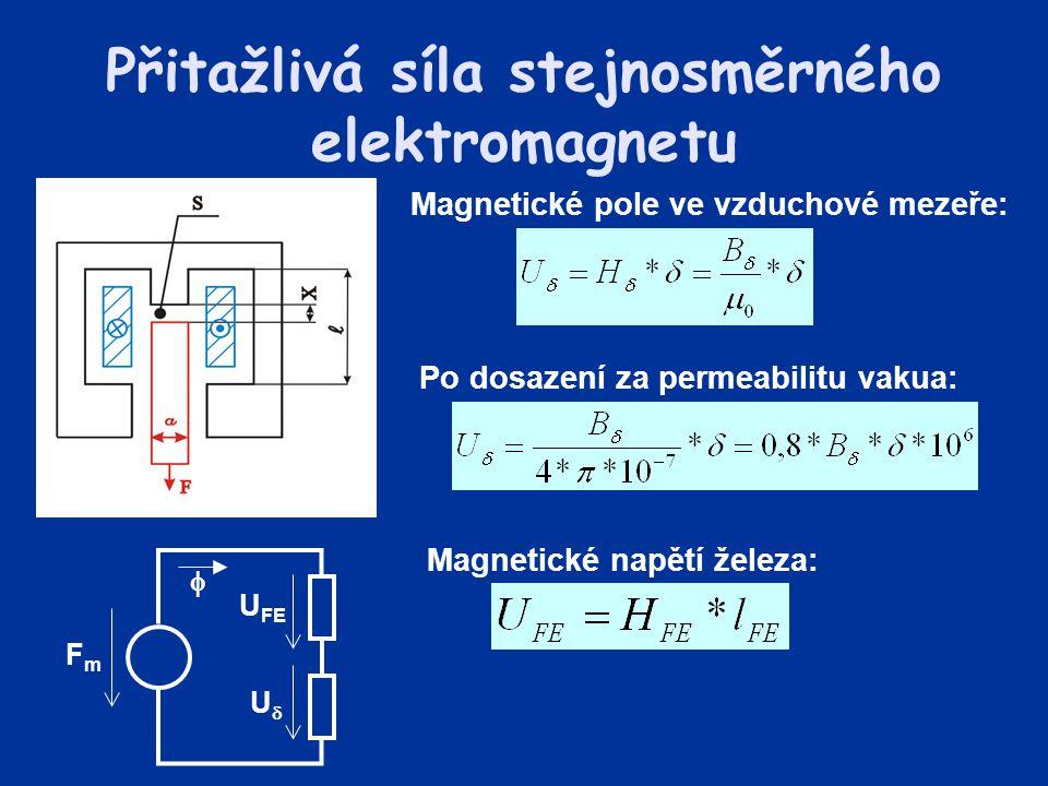 Po dosazení za permeabilitu vakua: Přitažlivá síla stejnosměrného elektromagnetu Magnetické pole ve vzduchové mezeře: FmFm UU U FE  Magnetické napě