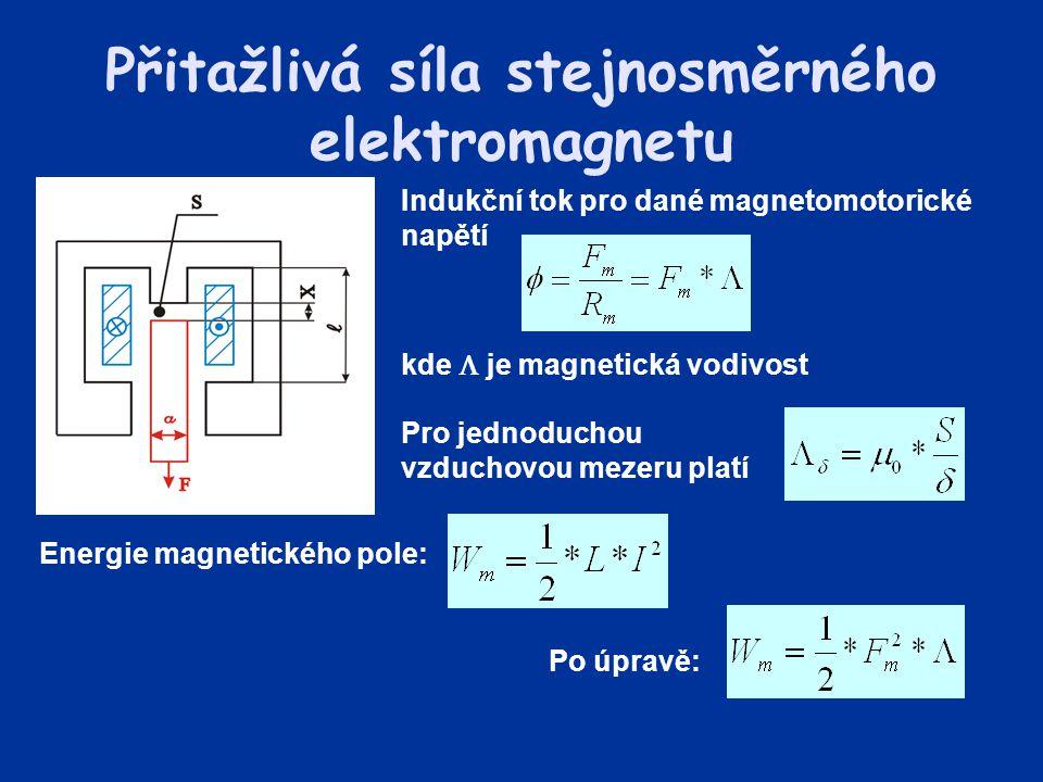 Přitažlivá síla stejnosměrného elektromagnetu Indukční tok pro dané magnetomotorické napětí kde  je magnetická vodivost Pro jednoduchou vzduchovou me