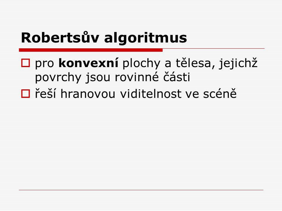 Robertsův algoritmus  pro konvexní plochy a tělesa, jejichž povrchy jsou rovinné části  řeší hranovou viditelnost ve scéně