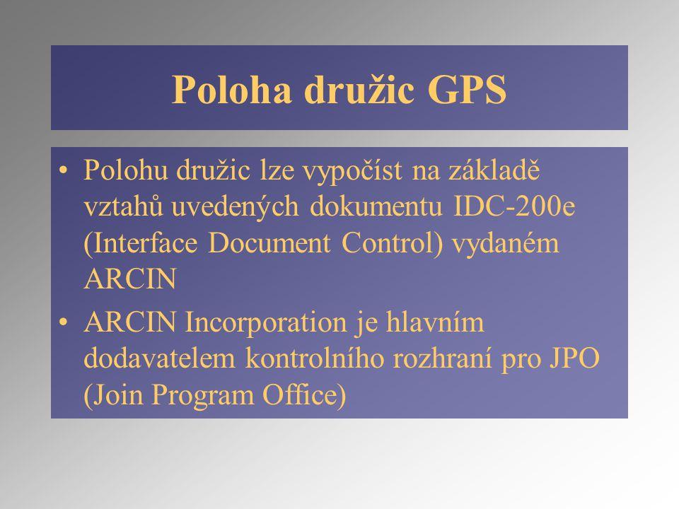 Poloha družic GPS Polohu družic lze vypočíst na základě vztahů uvedených dokumentu IDC-200e (Interface Document Control) vydaném ARCIN ARCIN Incorporation je hlavním dodavatelem kontrolního rozhraní pro JPO (Join Program Office)