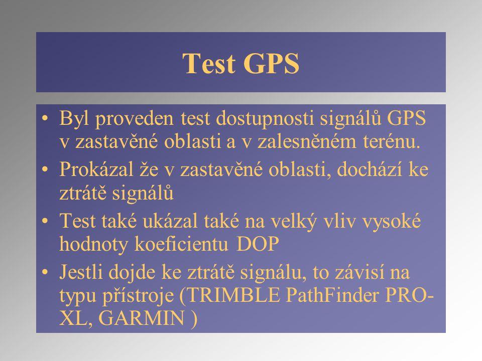 Test GPS Byl proveden test dostupnosti signálů GPS v zastavěné oblasti a v zalesněném terénu.