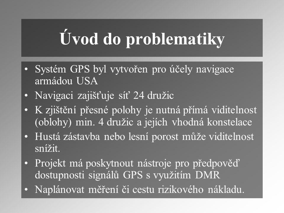 Úvod do problematiky Systém GPS byl vytvořen pro účely navigace armádou USA Navigaci zajišťuje síť 24 družic K zjištění přesné polohy je nutná přímá viditelnost (oblohy) min.