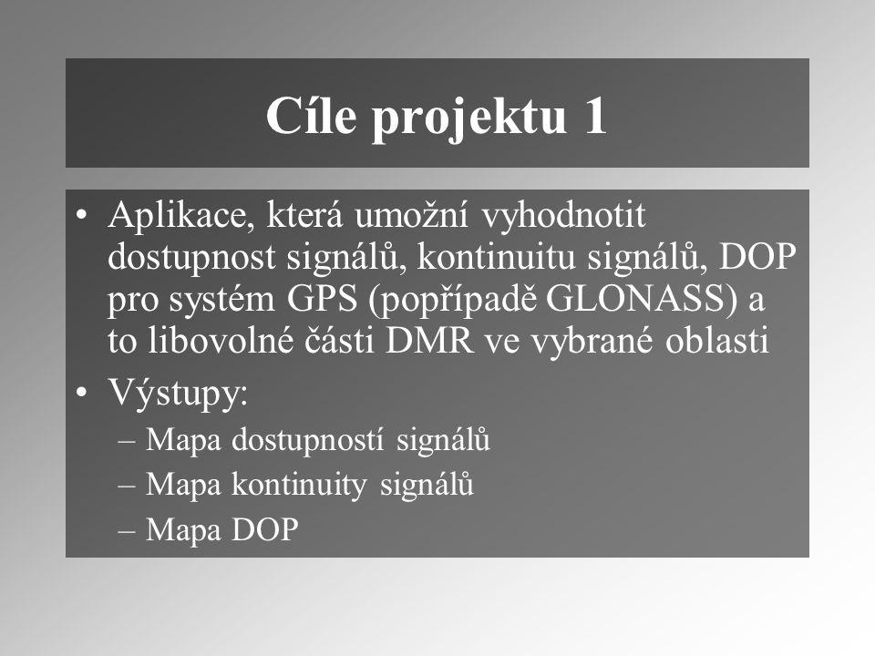 Cíle projektu 1 Aplikace, která umožní vyhodnotit dostupnost signálů, kontinuitu signálů, DOP pro systém GPS (popřípadě GLONASS) a to libovolné části DMR ve vybrané oblasti Výstupy: –Mapa dostupností signálů –Mapa kontinuity signálů –Mapa DOP