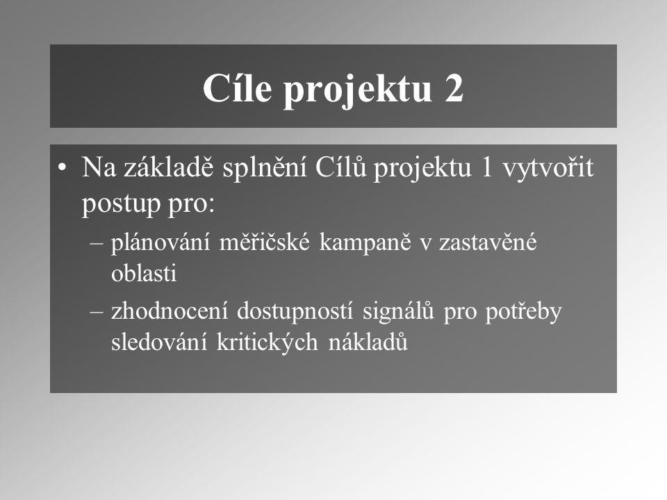 Cíle projektu 2 Na základě splnění Cílů projektu 1 vytvořit postup pro: –plánování měřičské kampaně v zastavěné oblasti –zhodnocení dostupností signálů pro potřeby sledování kritických nákladů