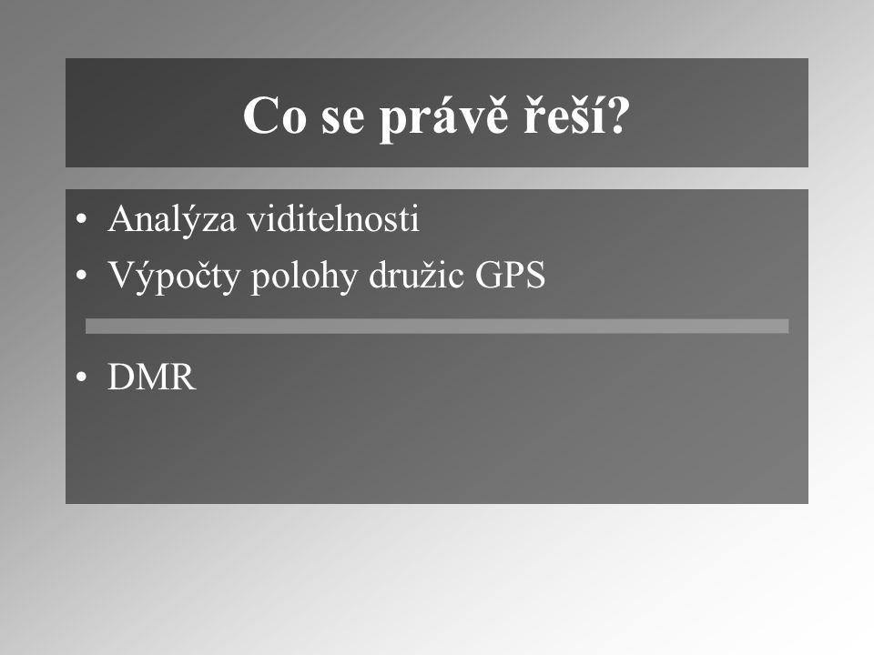 Co se právě řeší? Analýza viditelnosti Výpočty polohy družic GPS DMR