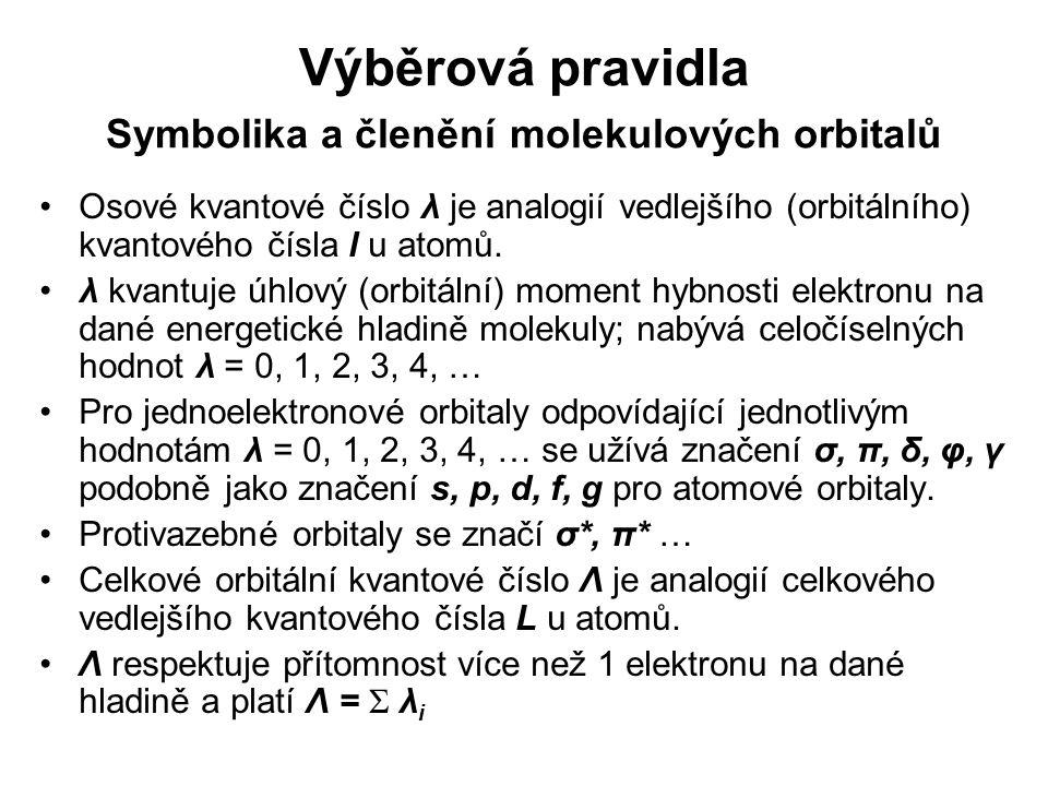 Výběrová pravidla Symbolika a členění molekulových orbitalů Osové kvantové číslo λ je analogií vedlejšího (orbitálního) kvantového čísla l u atomů. λ