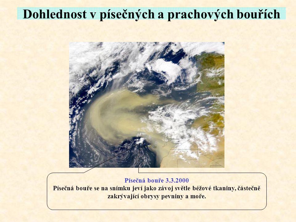 Dohlednost v písečných a prachových bouřích Písečná bouře 3.3.2000 Písečná bouře se na snímku jeví jako závoj světle béžové tkaniny, částečně zakrývaj