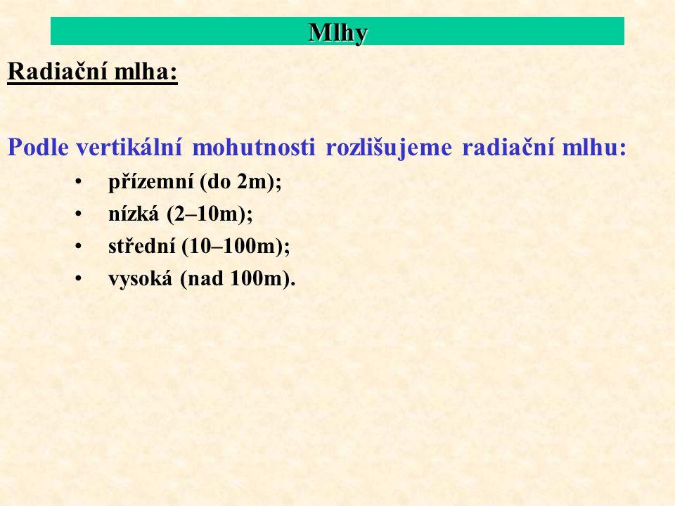 Mlhy Radiační mlha: Podle vertikální mohutnosti rozlišujeme radiační mlhu: přízemní (do 2m); nízká (2–10m); střední (10–100m); vysoká (nad 100m).