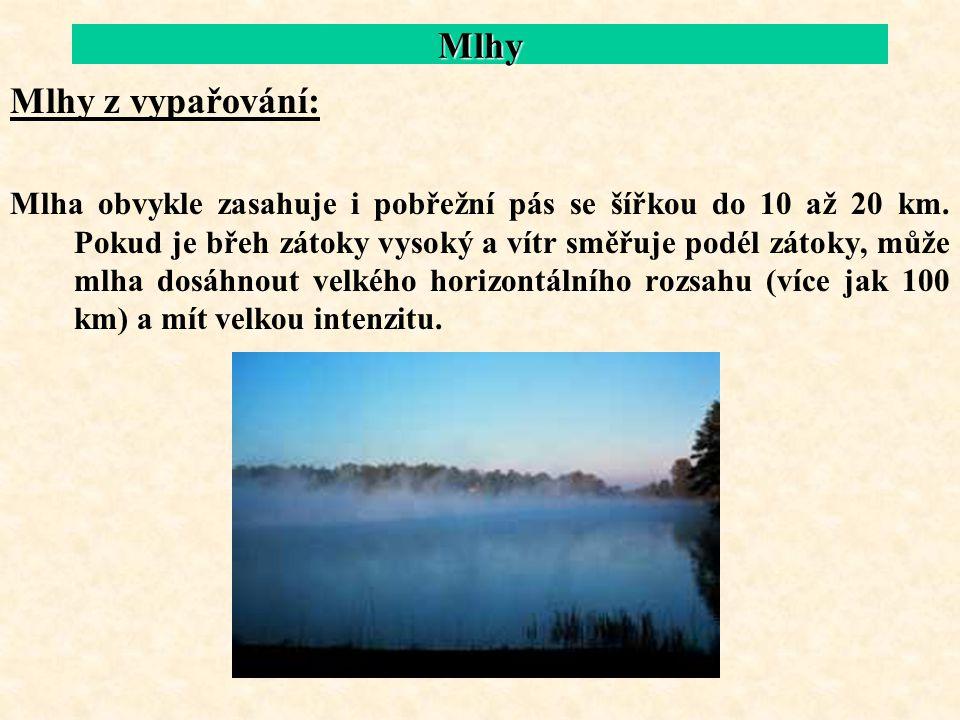Mlhy Mlhy z vypařování: Mlha obvykle zasahuje i pobřežní pás se šířkou do 10 až 20 km. Pokud je břeh zátoky vysoký a vítr směřuje podél zátoky, může m