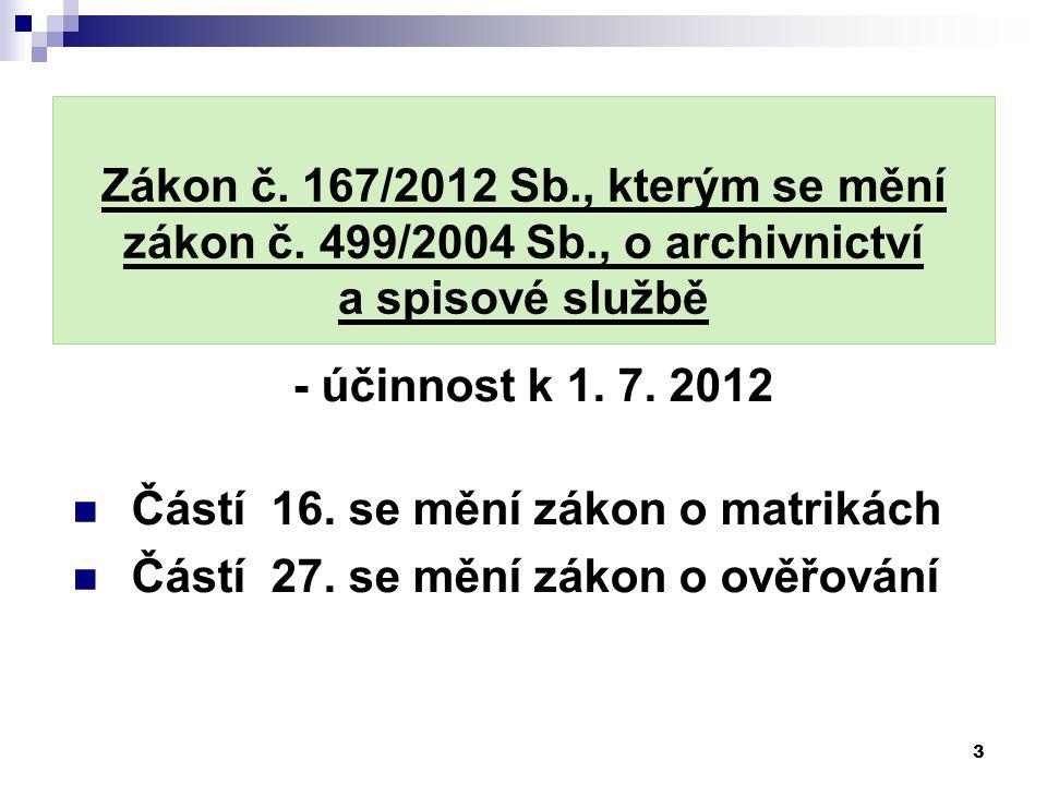 Zákon č. 167/2012 Sb., kterým se mění zákon č. 499/2004 Sb., o archivnictví a spisové službě - účinnost k 1. 7. 2012 Částí 16. se mění zákon o matriká