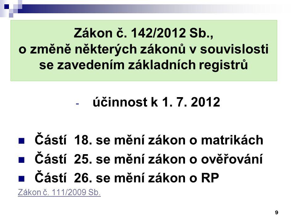 Zákon č. 142/2012 Sb., o změně některých zákonů v souvislosti se zavedením základních registrů - účinnost k 1. 7. 2012 Částí 18. se mění zákon o matri