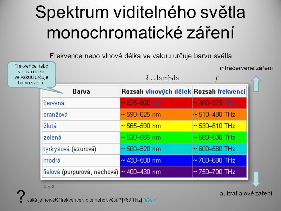 Spektrum viditelného světla monochromatické záření Obr. 2 Frekvence nebo vlnová délka ve vakuu určuje barvu světla. Frekvence nebo vlnová délka ve vak
