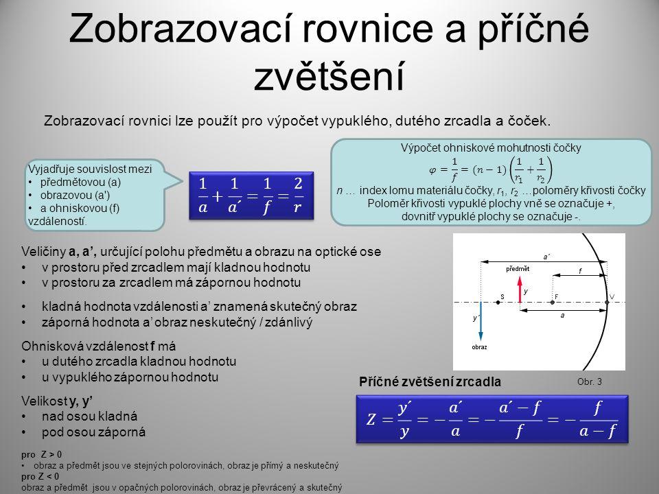 Zobrazovací rovnice a příčné zvětšení Zobrazovací rovnici lze použít pro výpočet vypuklého, dutého zrcadla a čoček.