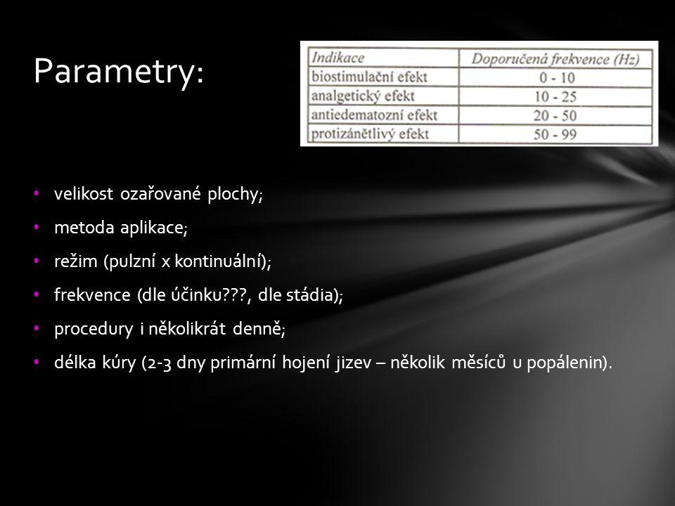 velikost ozařované plochy; metoda aplikace; režim (pulzní x kontinuální); frekvence (dle účinku???, dle stádia); procedury i několikrát denně; délka k