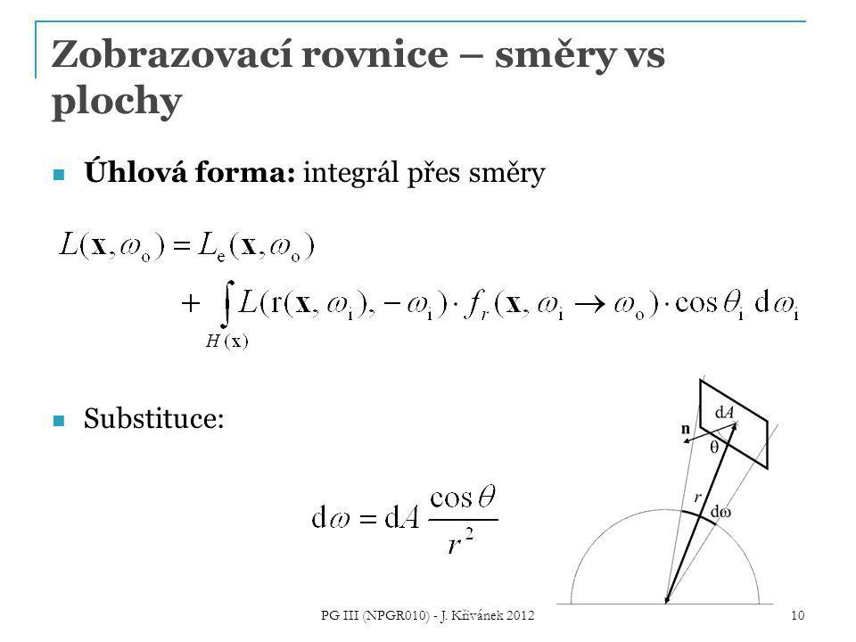 Zobrazovací rovnice – směry vs plochy Úhlová forma: integrál přes směry Substituce: 10 PG III (NPGR010) - J.