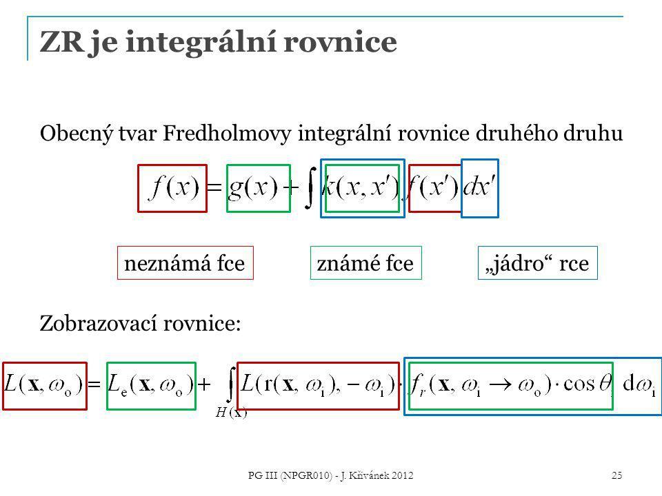 """ZR je integrální rovnice Obecný tvar Fredholmovy integrální rovnice druhého druhu Zobrazovací rovnice: neznámá fceznámé fce """"jádro rce 25 PG III (NPGR010) - J."""