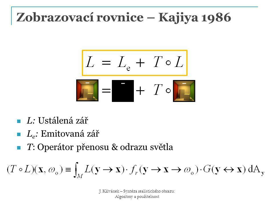 L: Ustálená zář L e : Emitovaná zář T: Operátor přenosu & odrazu světla Zobrazovací rovnice – Kajiya 1986 J.