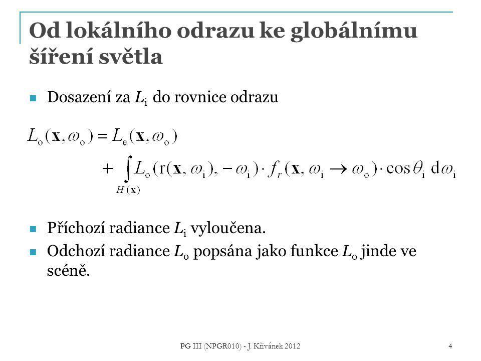 Od lokálního odrazu ke globálnímu šíření světla Dosazení za L i do rovnice odrazu Příchozí radiance L i vyloučena.