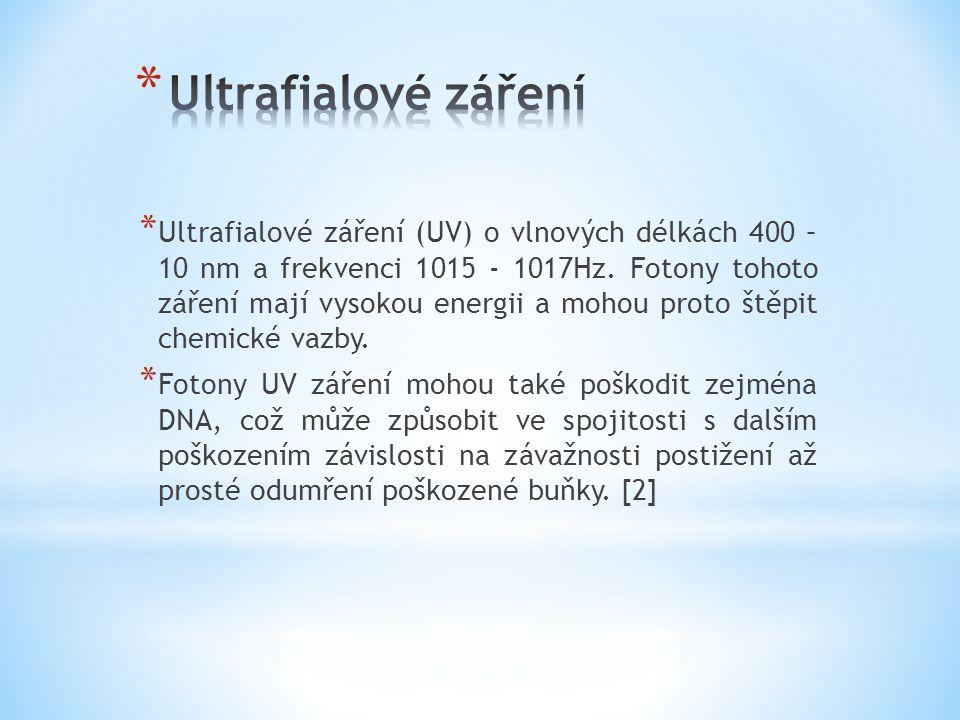 * Ultrafialové záření (UV) o vlnových délkách 400 – 10 nm a frekvenci 1015 - 1017Hz. Fotony tohoto záření mají vysokou energii a mohou proto štěpit ch