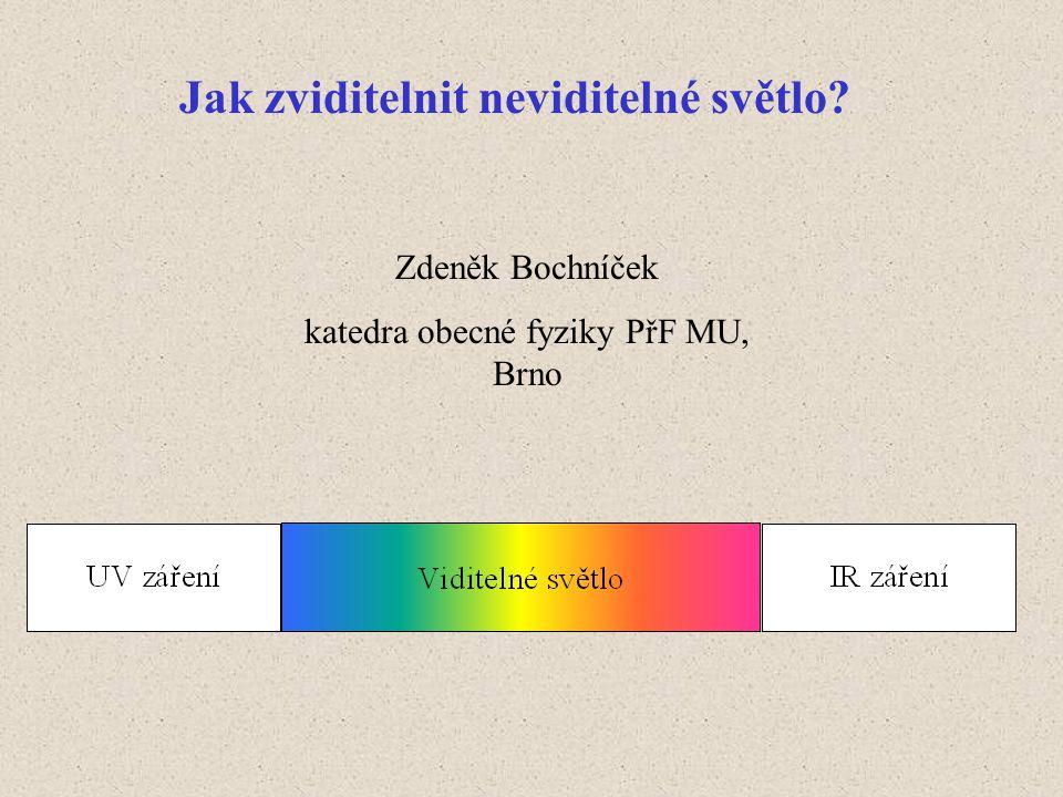 Fotony IR a UV záření → fotony viditelného světla.