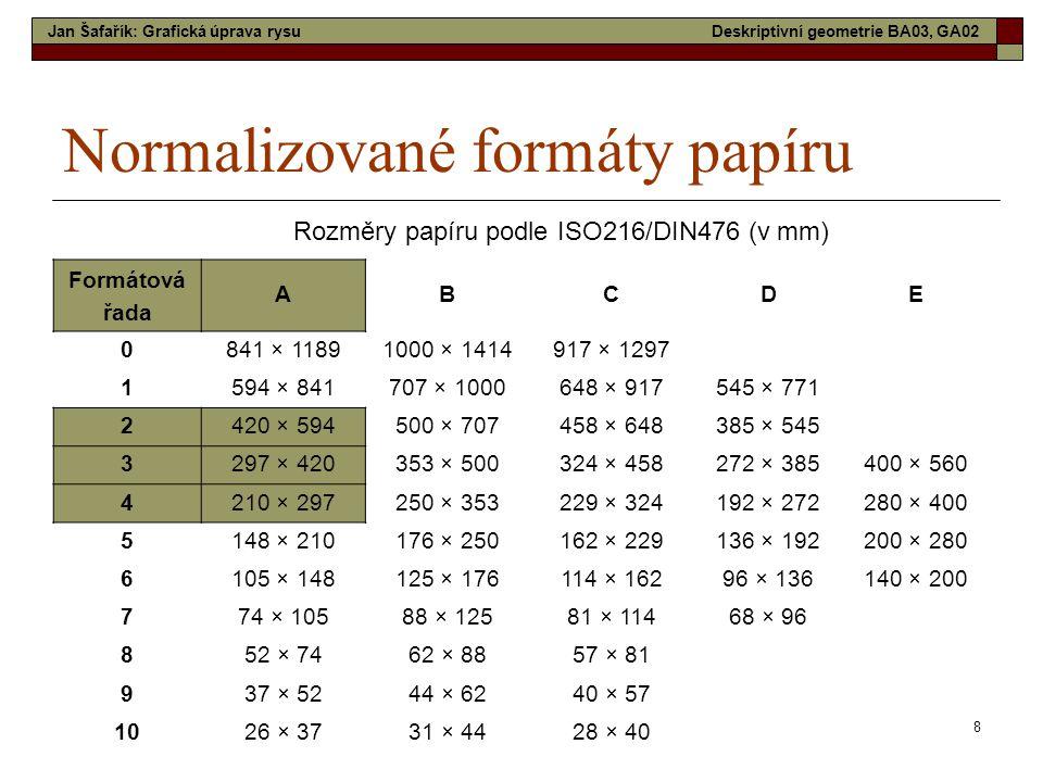 8 Normalizované formáty papíru Formátová řada ABCDE 0 841 × 11891000 × 1414917 × 1297 1 594 × 841707 × 1000648 × 917545 × 771 2 420 × 594500 × 707458