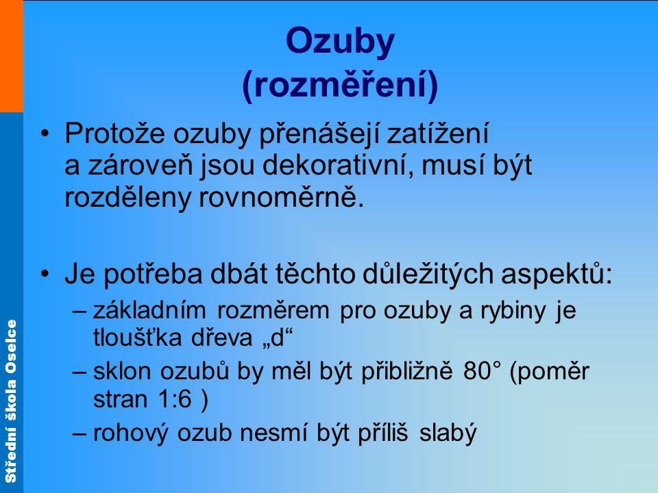Střední škola Oselce Ozuby (rozměření) Protože ozuby přenášejí zatížení a zároveň jsou dekorativní, musí být rozděleny rovnoměrně. Je potřeba dbát těc