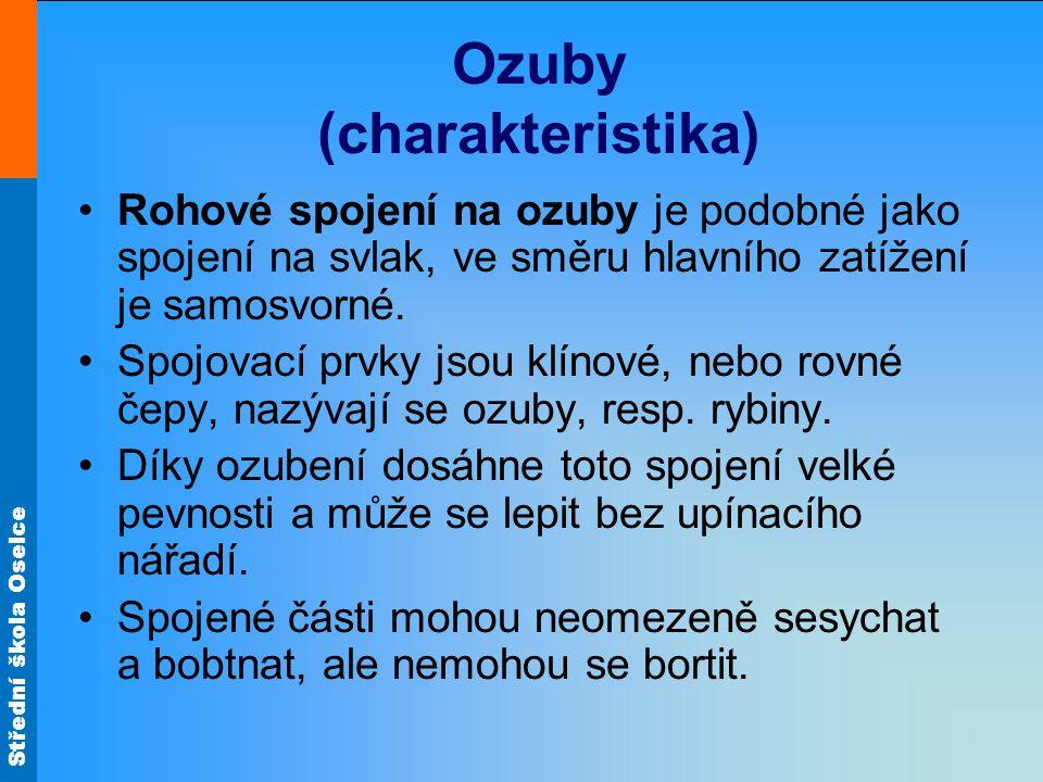 Střední škola Oselce Ozuby (charakteristika) Rohové spojení na ozuby je podobné jako spojení na svlak, ve směru hlavního zatížení je samosvorné. Spojo