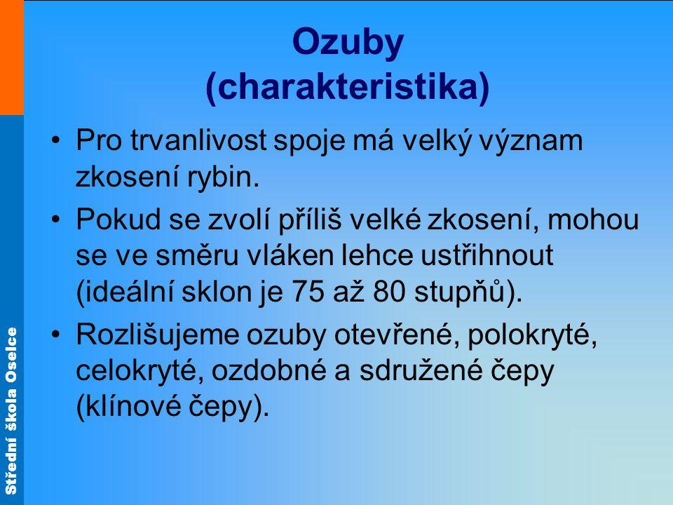 Střední škola Oselce Ozuby (charakteristika) U otevřených ozubů jsou rybiny a ozuby na obou vnějších stranách viditelné.