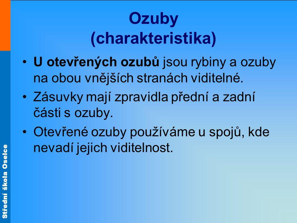 Střední škola Oselce Ozuby (charakteristika) U otevřených ozubů jsou rybiny a ozuby na obou vnějších stranách viditelné. Zásuvky mají zpravidla přední