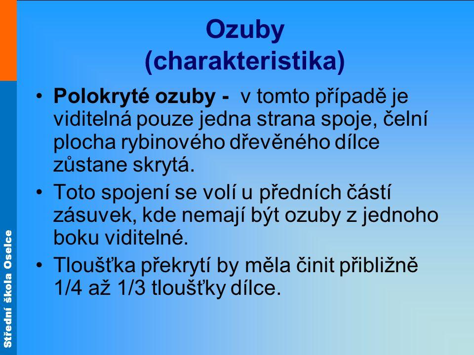 Střední škola Oselce Ozuby (charakteristika) Polokryté ozuby - v tomto případě je viditelná pouze jedna strana spoje, čelní plocha rybinového dřevěného dílce zůstane skrytá.