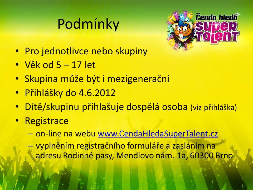 Podmínky Pro jednotlivce nebo skupiny Věk od 5 – 17 let Skupina může být i mezigenerační Přihlášky do 4.6.2012 Dítě/skupinu přihlašuje dospělá osoba (