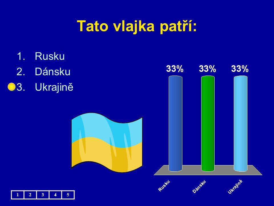 Tato vlajka patří: 12345 1.Rusku 2.Dánsku 3.Ukrajině