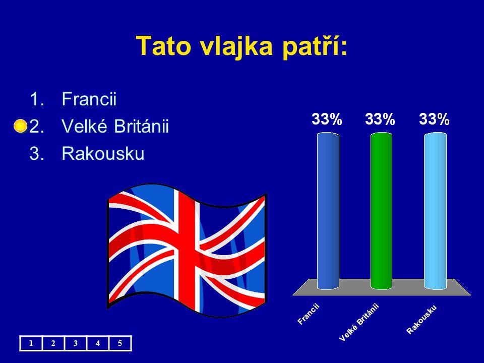 Tato vlajka patří: 1.Francii 2.Velké Británii 3.Rakousku 12345