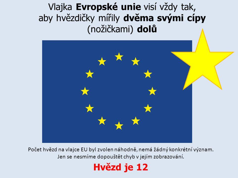 Vlajka Evropské unie visí vždy tak, aby hvězdičky mířily dvěma svými cípy (nožičkami) dolů Počet hvězd na vlajce EU byl zvolen náhodně, nemá žádný kon