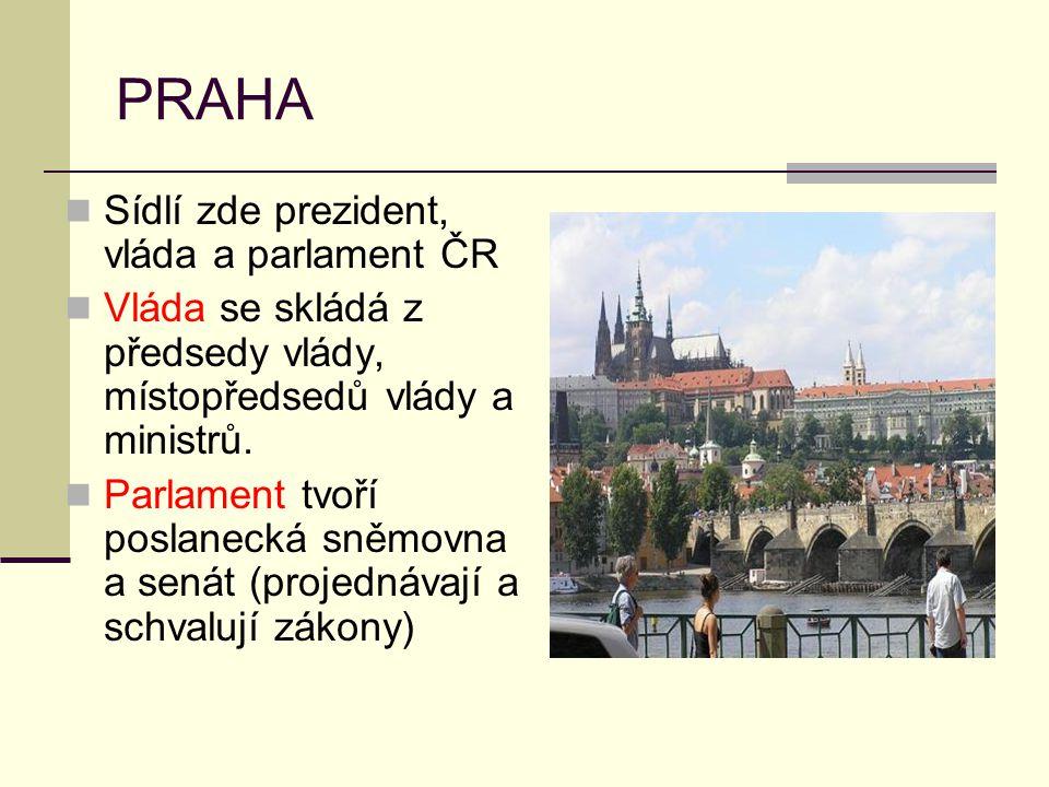 PRAHA Sídlí zde prezident, vláda a parlament ČR Vláda se skládá z předsedy vlády, místopředsedů vlády a ministrů. Parlament tvoří poslanecká sněmovna