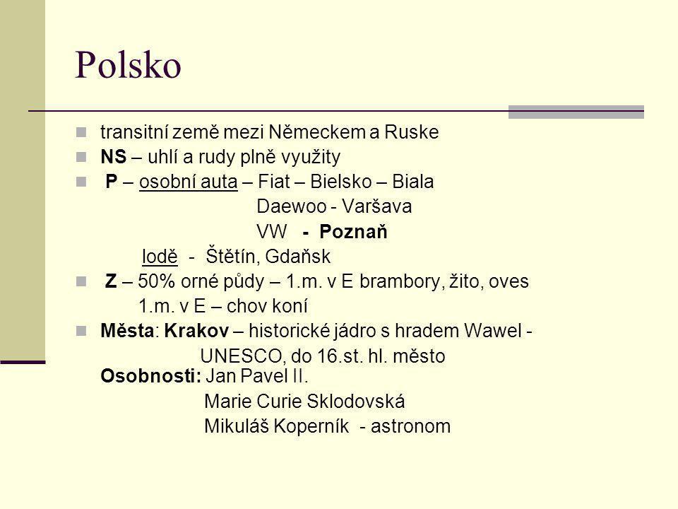 Polsko transitní země mezi Německem a Ruske NS – uhlí a rudy plně využity P – osobní auta – Fiat – Bielsko – Biala Daewoo - Varšava VW - Poznaň lodě - Štětín, Gdaňsk Z – 50% orné půdy – 1.m.