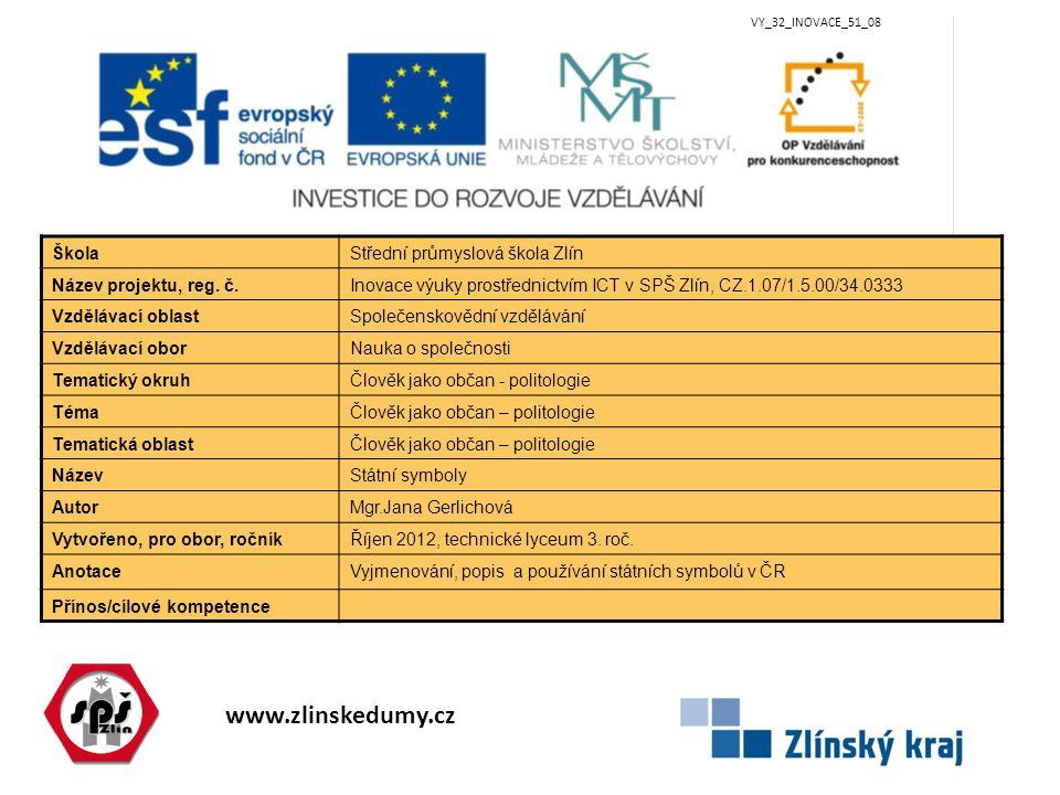 www.zlinskedumy.cz VY_32_INOVACE_51_08 ŠkolaStřední průmyslová škola Zlín Název projektu, reg. č.Inovace výuky prostřednictvím ICT v SPŠ Zlín, CZ.1.07