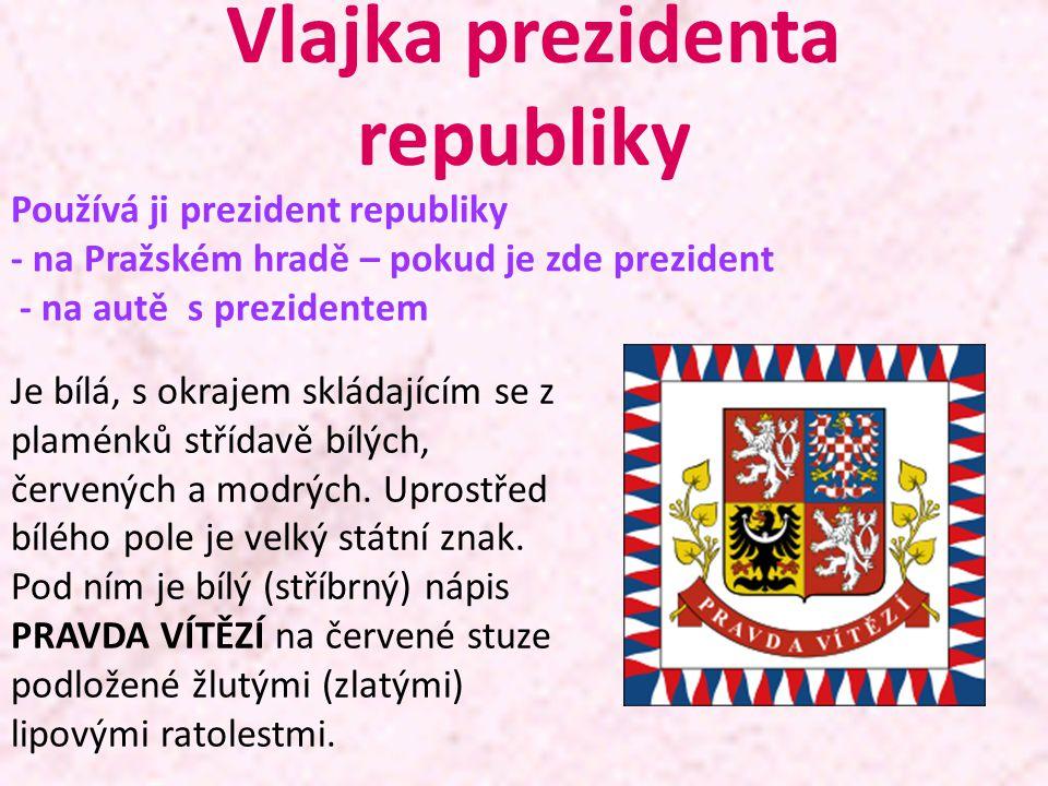 Vlajka prezidenta republiky Je bílá, s okrajem skládajícím se z plaménků střídavě bílých, červených a modrých. Uprostřed bílého pole je velký státní z