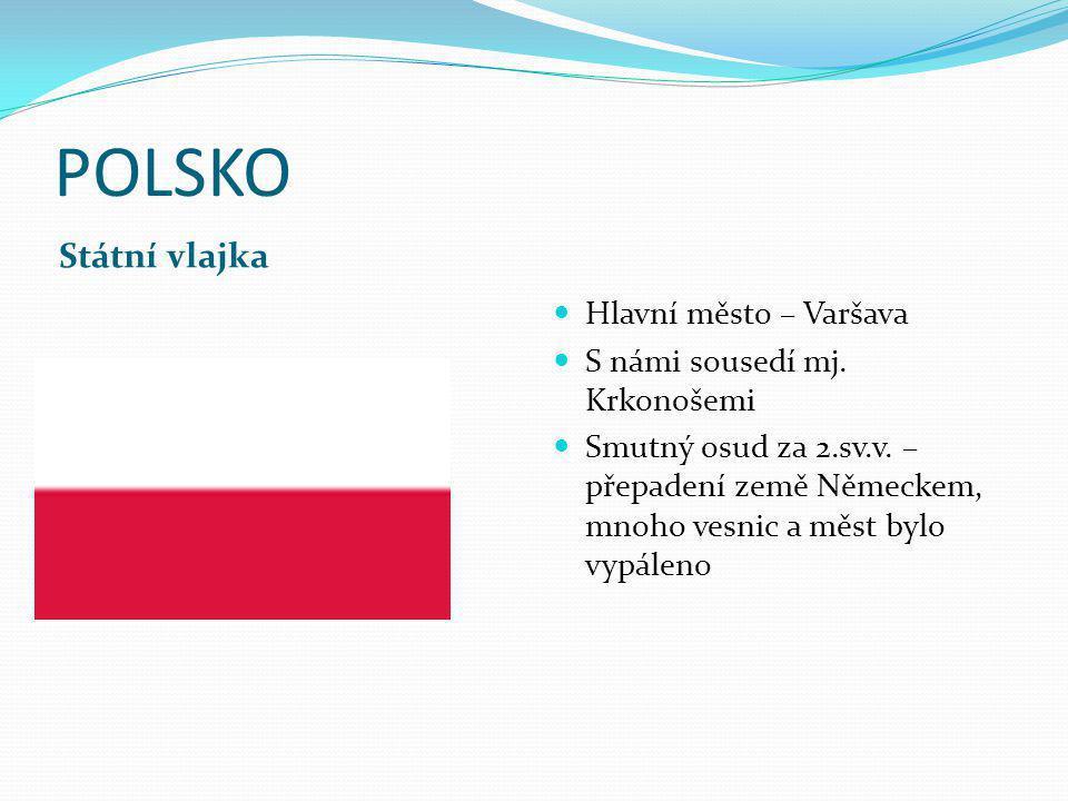 POLSKO Státní vlajka Hlavní město – Varšava S námi sousedí mj.