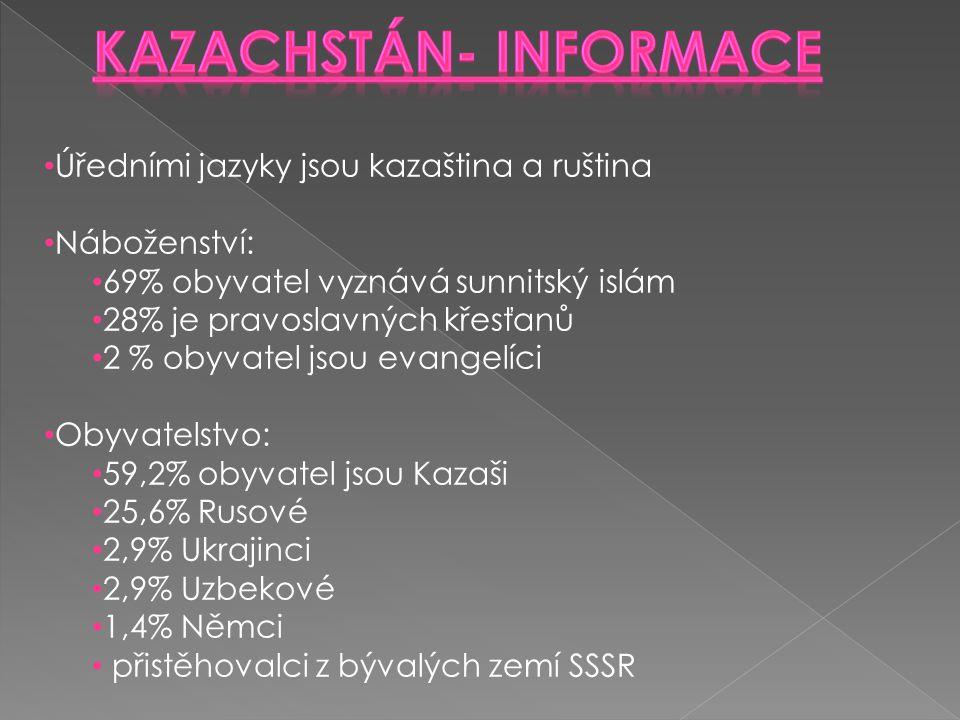 Úředními jazyky jsou kazaština a ruština Náboženství: 69% obyvatel vyznává sunnitský islám 28% je pravoslavných křesťanů 2 % obyvatel jsou evangelíci