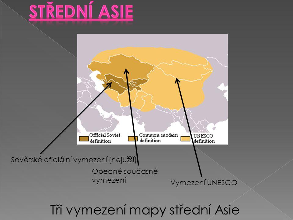 Sovětské oficiální vymezení (nejužší) Tři vymezení mapy střední Asie Obecné současné vymezení Vymezení UNESCO