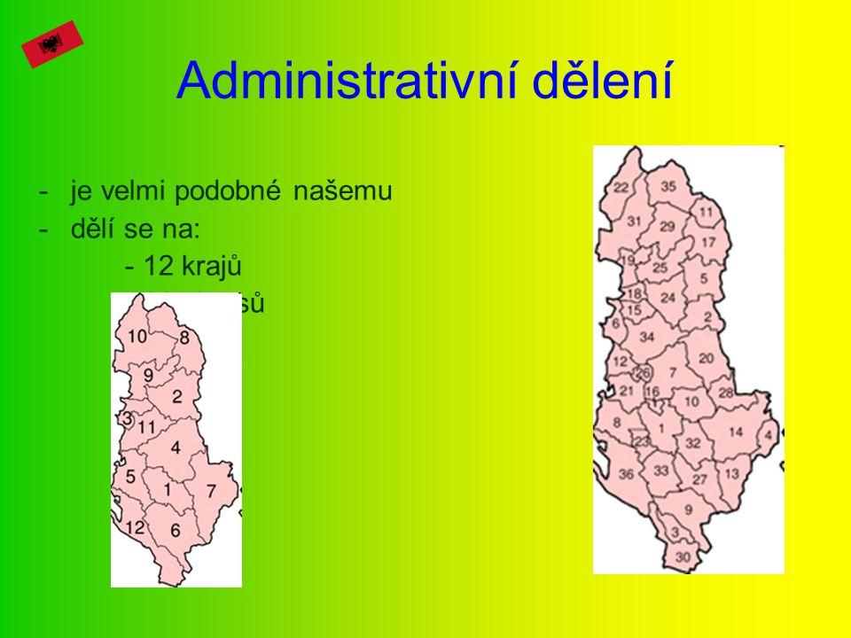 Administrativní dělení -je velmi podobné našemu -dělí se na: - 12 krajů - 36 okresů