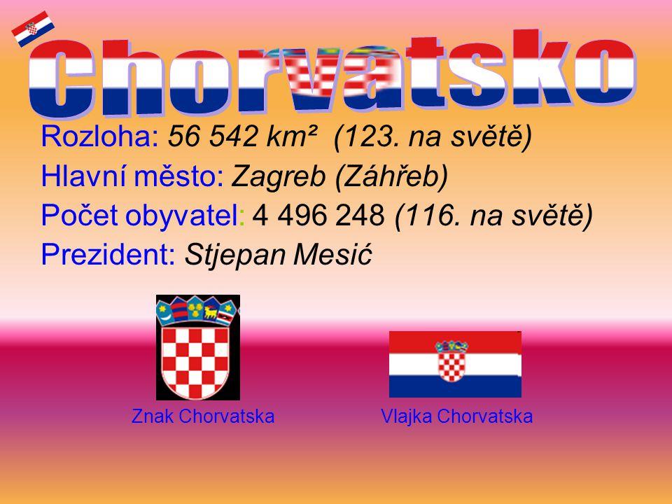 Rozloha: 56 542 km² (123. na světě) Hlavní město: Zagreb (Záhřeb) Počet obyvatel: 4 496 248 (116. na světě) Prezident: Stjepan Mesić Znak Chorvatska V
