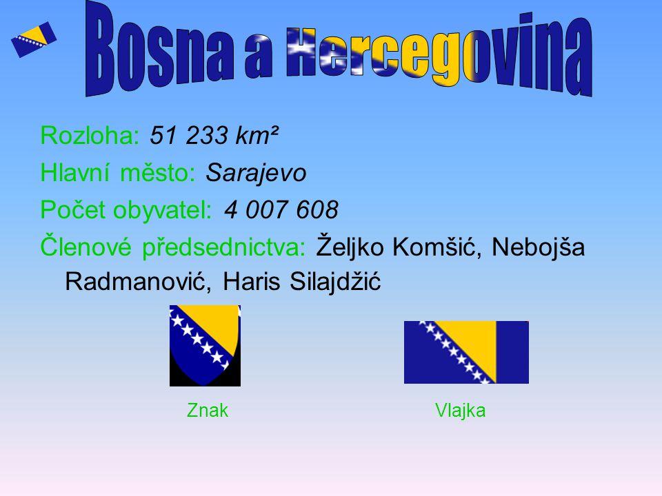 Rozloha: 51 233 km² Hlavní město: Sarajevo Počet obyvatel: 4 007 608 Členové předsednictva: Željko Komšić, Nebojša Radmanović, Haris Silajdžić Znak Vl