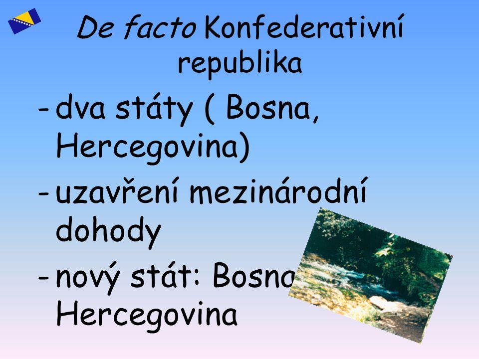 De facto Konfederativní republika -d-dva státy ( Bosna, Hercegovina) -u-uzavření mezinárodní dohody -n-nový stát: Bosna a Hercegovina