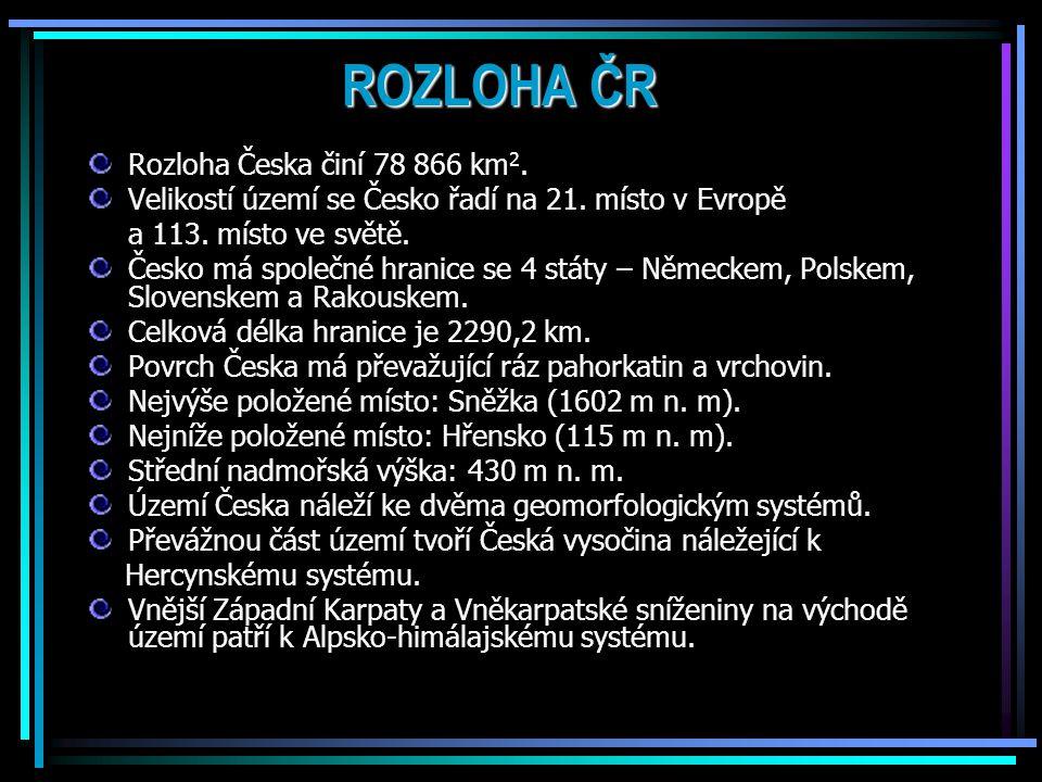 ROZLOHA ČR Rozloha Česka činí 78 866 km 2.Velikostí území se Česko řadí na 21.