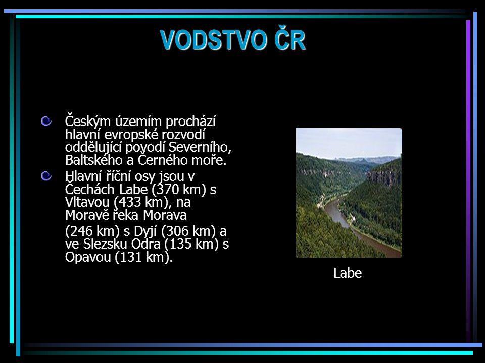 VODSTVO ČR Českým územím prochází hlavní evropské rozvodí oddělující povodí Severního, Baltského a Černého moře.
